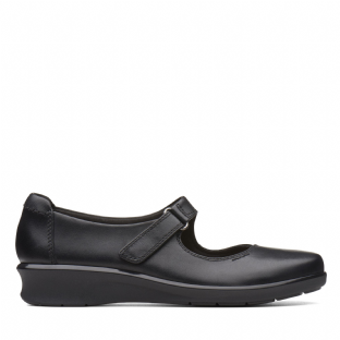 Clarks Hope Henley Black Leather Womens Shoes